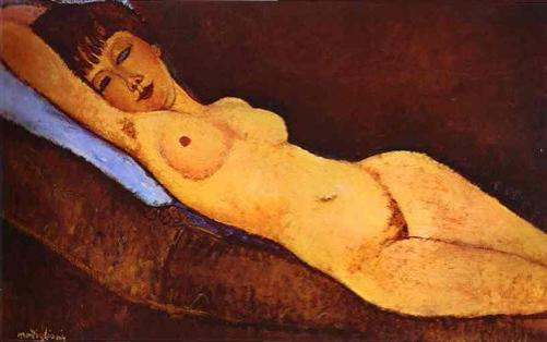 Modigliani-Reclining Nude With Blue Cushion