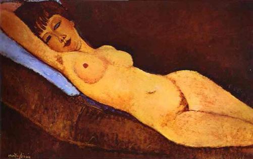 Modigliani-Reclining Nude With Blue Cushion