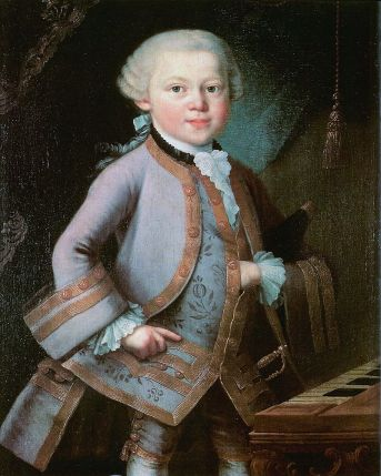 Mozart op 7-jarige leeftijd (1763, maker onbekend).