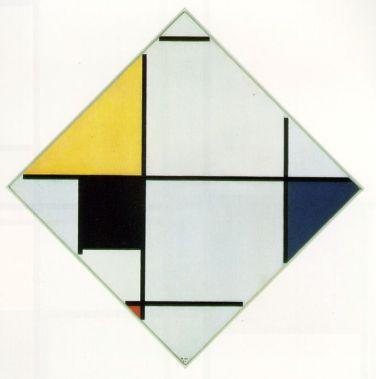 Piet Mondriaan, 'Ruitcompositie met geel, zwart, blauw, rood en grijs' (1921).