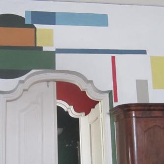 Detail muurschildering, Stroomzigt. Foto Julie Hengeveld