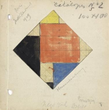 Voorstudie Van Doesburg, 'Contra-compositie',