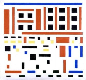 Compositie 1917, no. 4/Het uitgaan van de fabriek (1916).