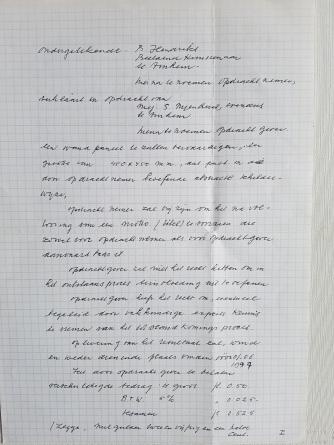 Pagina 1 van het contract dat Buurman Berend met Suzanne sloot.