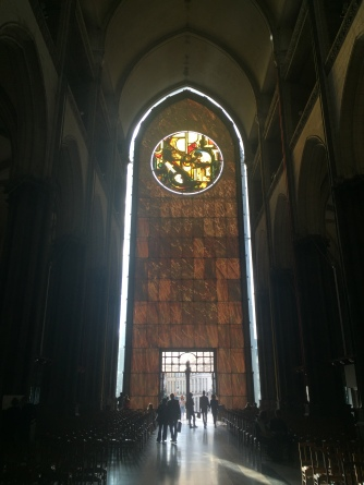 De gevel van binnenuit van de Rijselse kathedraal