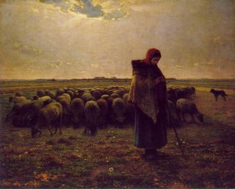 Millet, 'Herderin met haar kudde' (ca. 1863)