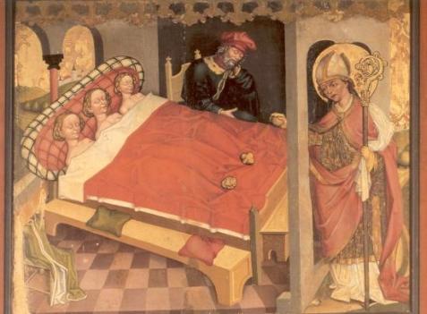 B80 1 Onbekend-Heilige Sint-Nicolaas schenkt goudklompjes aan 3 zusters, ca. 1500