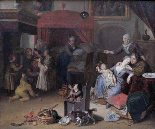 B80 3 Richard Brakenburgh-Het Sint Nicolaasfeest ca 1700 (morele les)